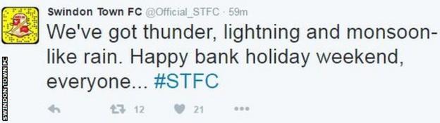 Swindon's social media team summed up the British summer perfectly