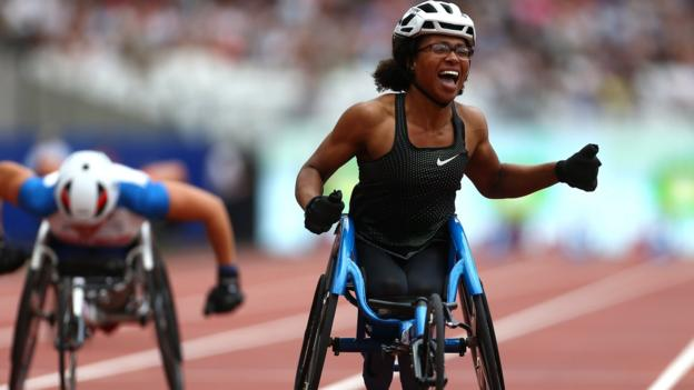 Kare Adenegan of Great Britain celebrates victory after setting the new world record following the Women's T34 100m during day two of the Muller Anniversary Games at London Stadiu