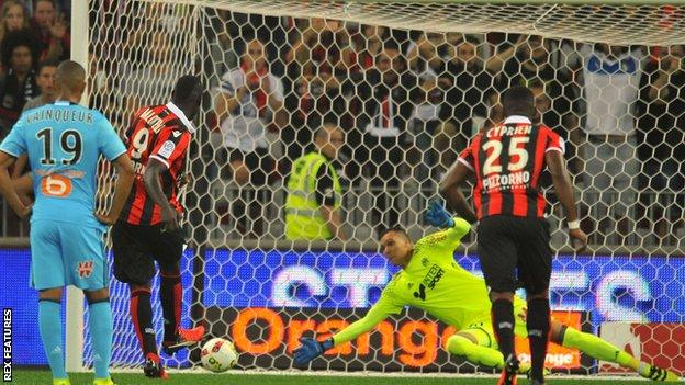 Mario Balotelli scores his first goal for Nice from the penalty spot