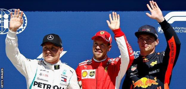 Valtteri Bottas, Sebastian Vettel and Max Verstappen