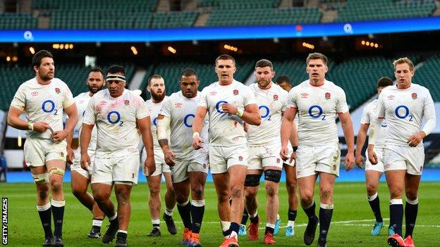 England players in their 2021 Six Nations match against France