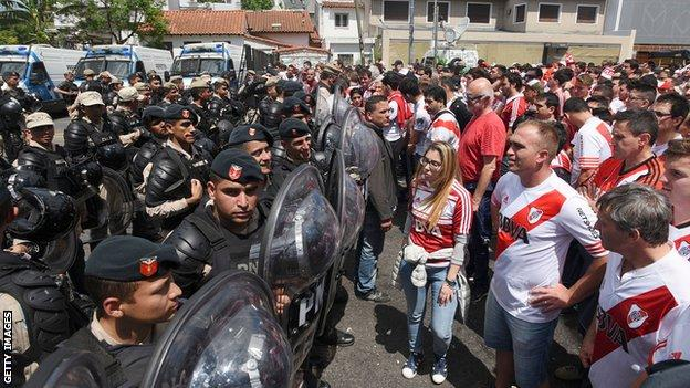 Police block River fans outside the stadium