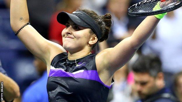 Bianca Andreescu celebrates beating Belinda Bencic to reach the US Open final