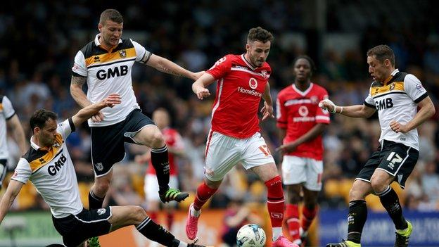 Port Vale captain Ben Purkiss (left) and caretaker-boss Michael Brown (right) were both in the Vale side beaten 5-0 at home by Walsall on the final day of last season