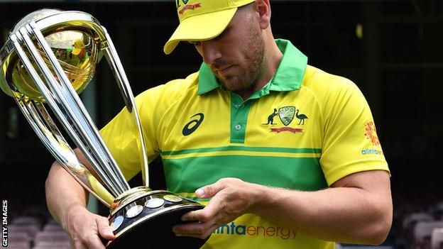 Australia ODI captain Aaron Finch with the World Cup trophy