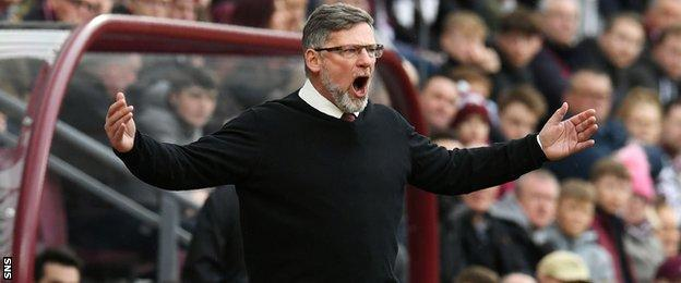 Craig Levein in the Hearts technical area