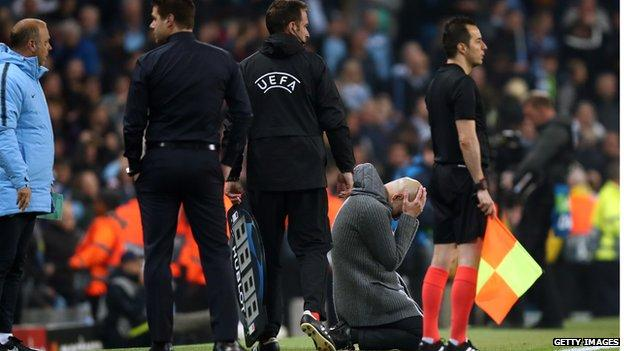 Pep Guardiola falls to his knees on the touchline