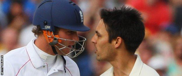 Stuart Broad and Mitchell Johnson square up to each other