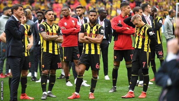 Watford players and manager Javi Gracia at Wembley