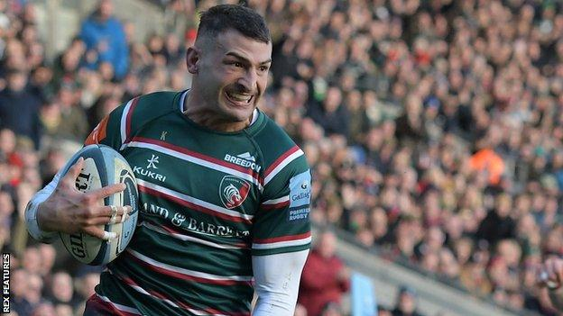 Jonny May in action for Leicester Tigers