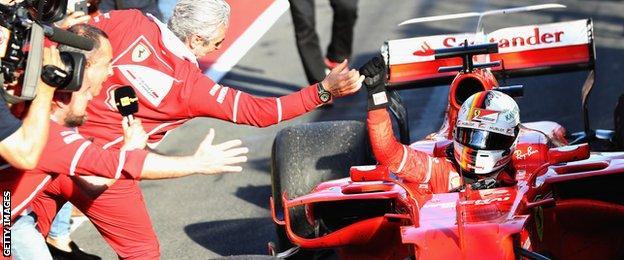 Sebastian Vettel celebrates