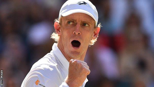 Kevin Anderson celebrates winning a point in the 2018 Wimbledon final against Novak Djokovic