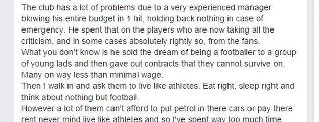 Kevin Nicholson's statement on Facebook