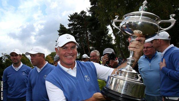 Phillip Archer of the Great Britain and Ireland with the PGA Cup