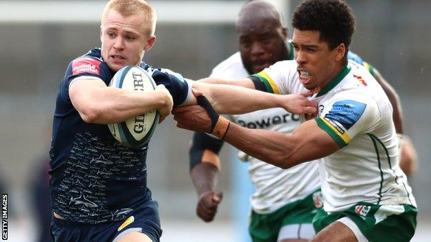 Arron Reed races away to score Sale's fourth try against London Irish