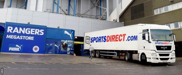 Sports Direct truck at the Rangers Megastore at Ibrox