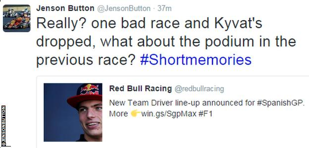 Jenson Button tweet