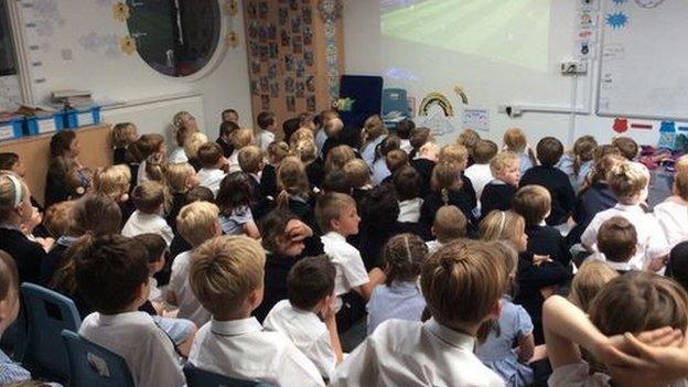 Pupils at St Katherine's School in Bournemouth watching England v Wales