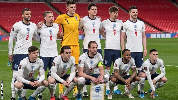 England line-up against Poland in March