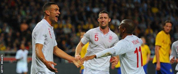 Steven Caulker (left) celebrates after scoring in his one and only England appearance