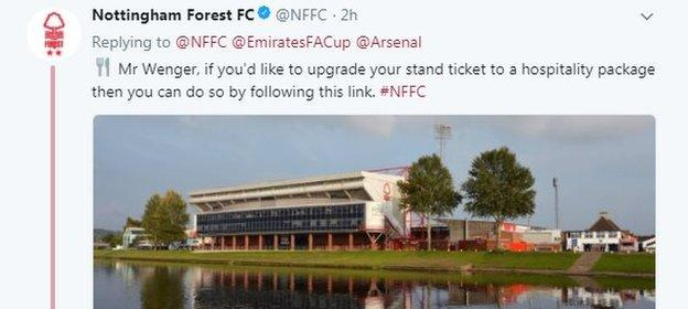 Nottingham Forest were quick off the mark with a cheeky hospitality invitation to Wenger