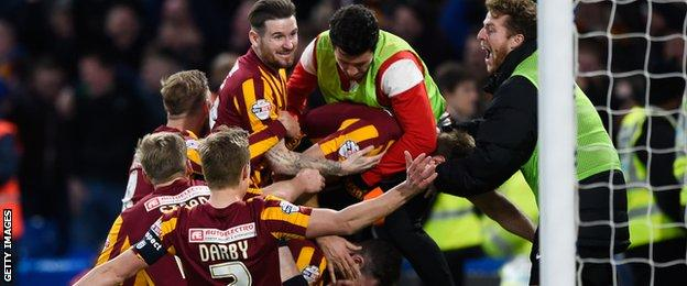 Andy Halliday scored agaisnt Chelsea as Bradford beat them in last season's FA Cup