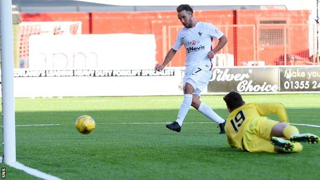 Dougie Imrie levels for Hamilton Academical against Aberdeen