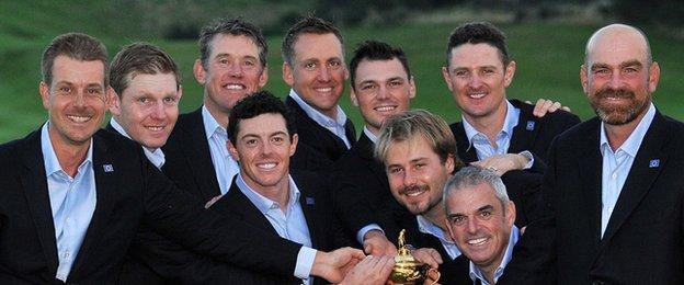 Team Europe with the Ryder Cup
