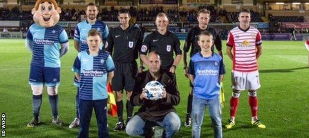 Ed Wood on the pitch at Wycombe