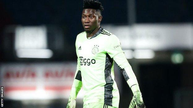 Ajax goalkeeper Andre Onana in playing kit