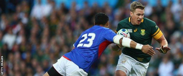 Jean de Villiers playing for South Africa against Samoa