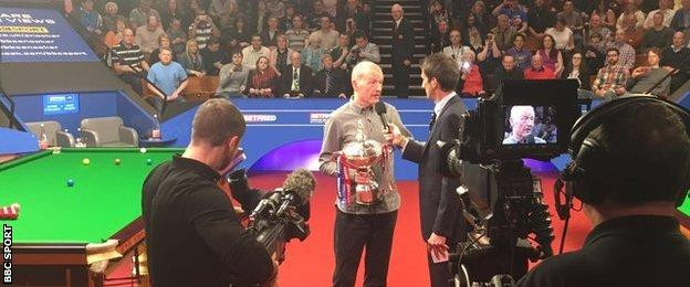 Steve Davis is interviewed by the BBC after announcing his retirement