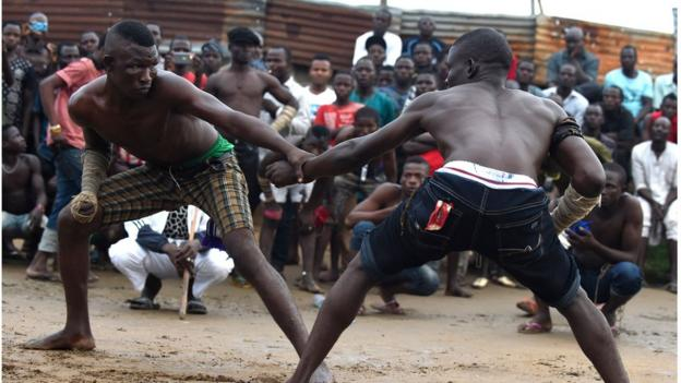 Dambe Fighters squaring up