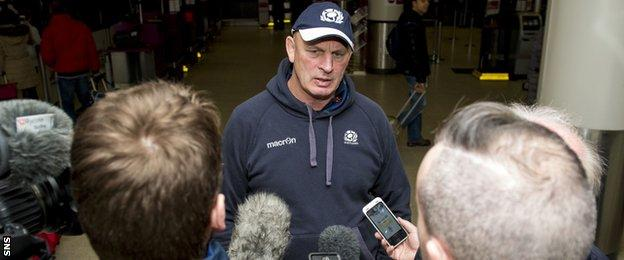 Scotland coach Vern Cotter talks to the media
