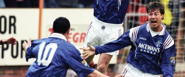 Brian Laudrup's 10th minute header against Dundee United helped seal nine titles in a row