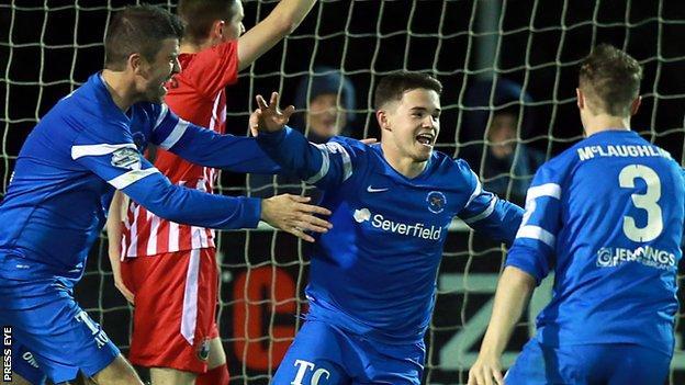 Michael McCrudden scored Ballinamallard's first goal of the night at Ferney Park