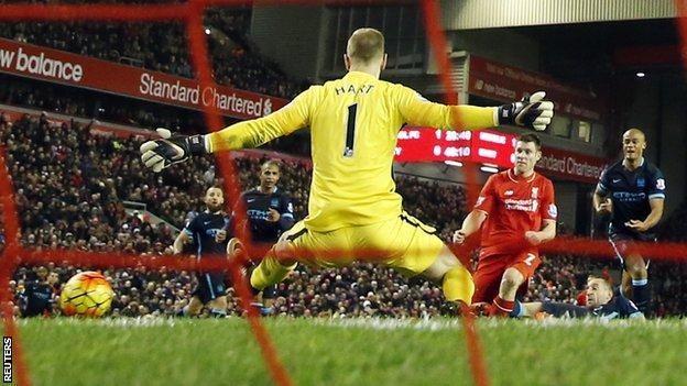 James Milner scores for Liverpool