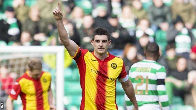 Partick Thistle striker Kris Doolan celebrates scoring against Celtic