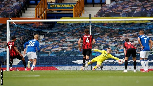 Joshua King scores against Everton