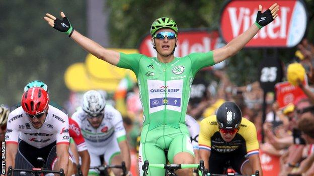 Marcel Kittel celebrates a Tour de France stage win
