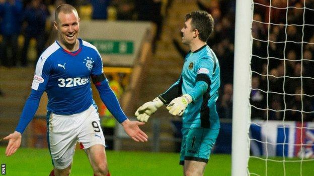 Kenny Miller celebrates after scoring for Rangers against Dumbarton