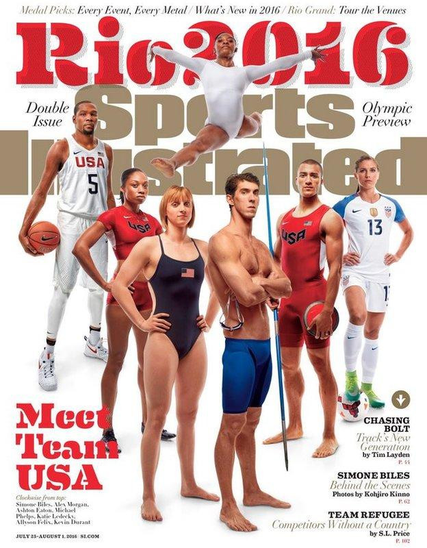 Biles was on the cover of Sports Illustrated's Olympic special, alongside the likes of Michael Phelps, Kevin Durant, Alex Morgan and Katie Ledecky