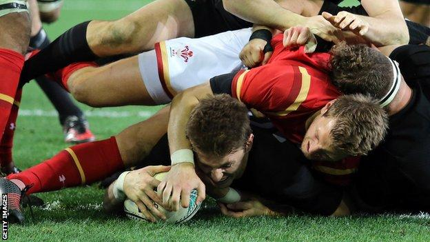 Beauden Barrett scores his second try of the third Test