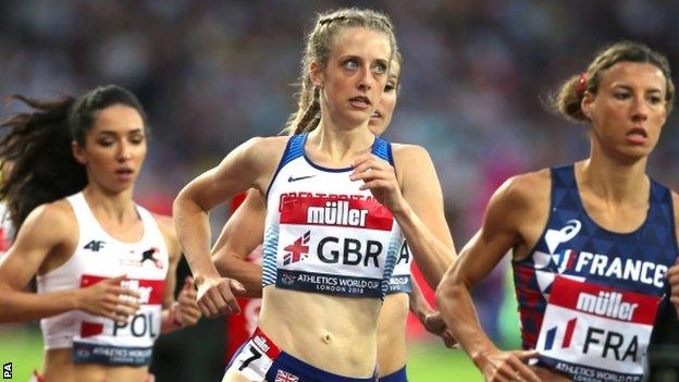 Jemma Reekie runs in the 1500m at the Athletics World Cup