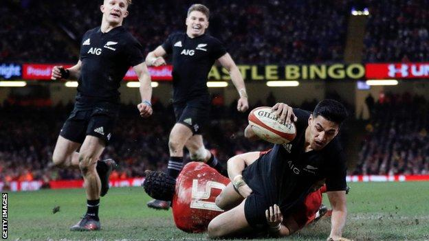 Wing Rieko Ioane was an outstanding performer for New Zealand in Cardiff