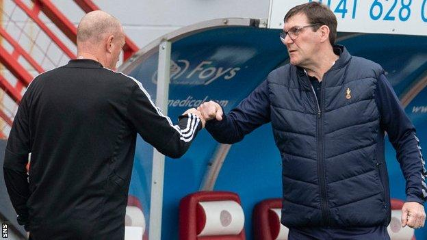 Kilmarnock manager Tommy Wright (right)