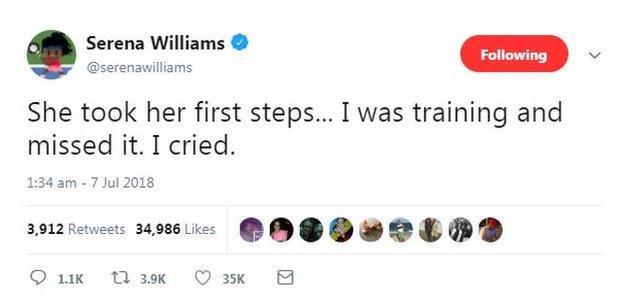 Serena wiliams tweet