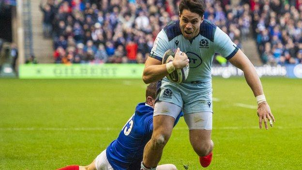 Scotland defeated France at Murrayfield in their third home game of the Six Nations before the tournament's suspension
