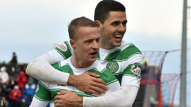 Celtic's Leigh Griffiths and Tom Rogic celebrate