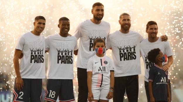 Achraf Hakimi, Georginio Wijnaldum , Gianluigi Donnarumma, Sergio Ramos and Lionel Messi